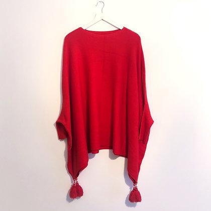 Red Tassel Poncho