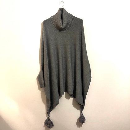Grey Cowl Neck Tassel Poncho