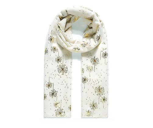 Delicate dandelion foil printed scarf