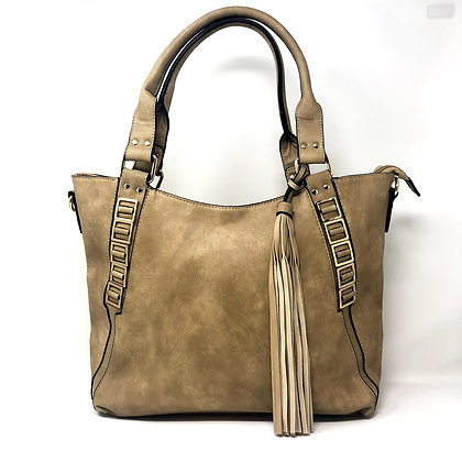 Taupe Tassel Shoulder Bag