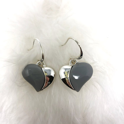 Silver and Grey Heart Earrings