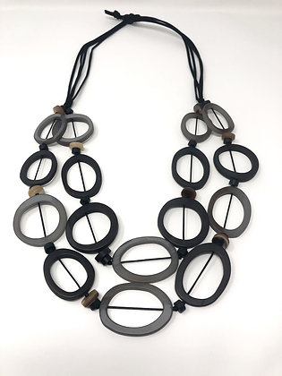 Long Grey Multiple Cut Out Circle Necklace