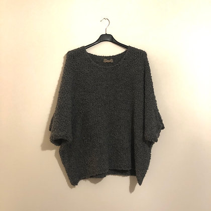 Grey Soft Knit Bat Wing Jumper