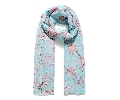 Blue Cherry Blossom Print Scarf