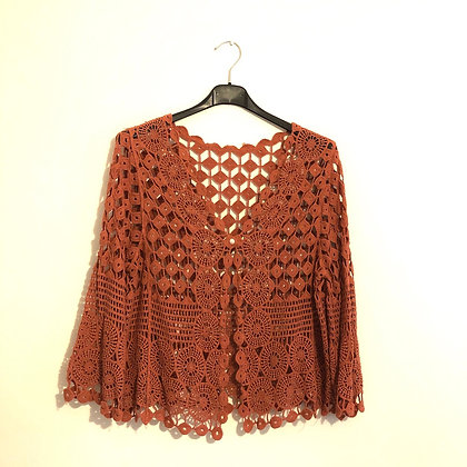 Rust Crochet Cardi Jacket