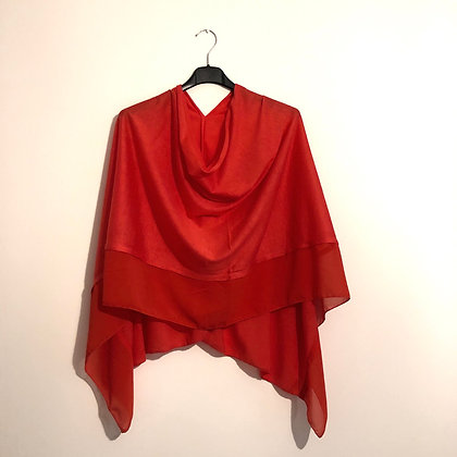 Coral Red Lightweight Poncho