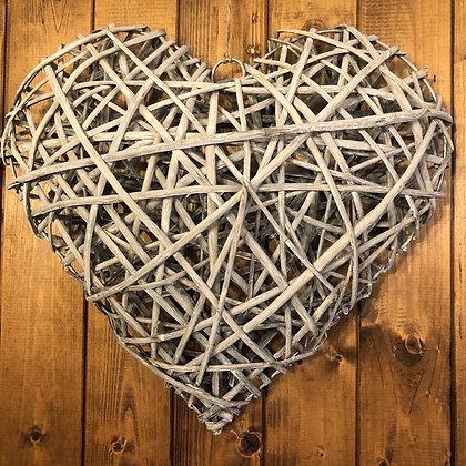 Large Grey Wicker Heart