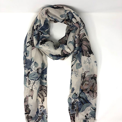 Grey And Lilac Floral Scarf