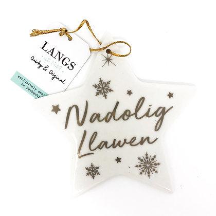 Gold Welsh Christmas Star - Nadolig Llawen