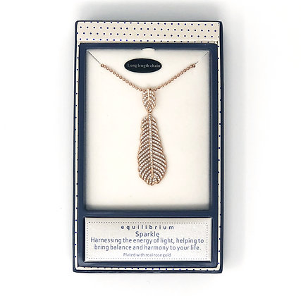 Rose Gold Diamante Feather Necklace