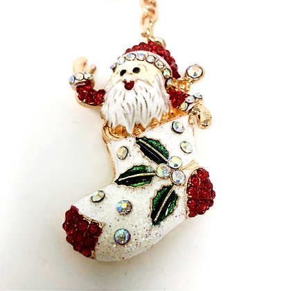 Santa In A Stocking Key Ring/Bag Charm