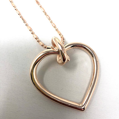 Long rose Gold Heart Neclace