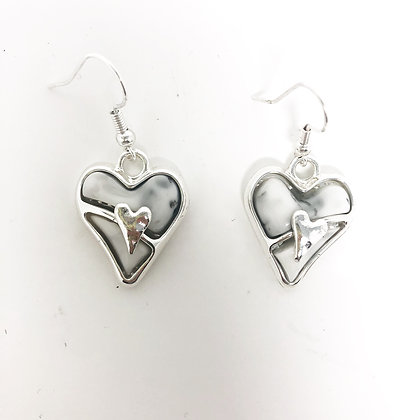 Silver and Grey Marble Effect Heart Earrings
