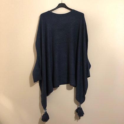 Blue Tassel Poncho