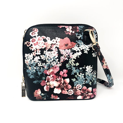 Small Crossbody Bag Black with Floral Pattern