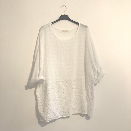White Cut Out Pattern Top