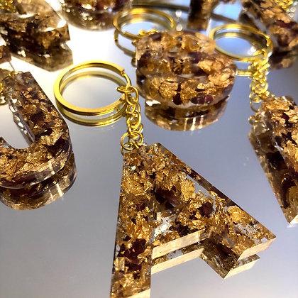 Rose Petal & Gold Flake Letter Keychain