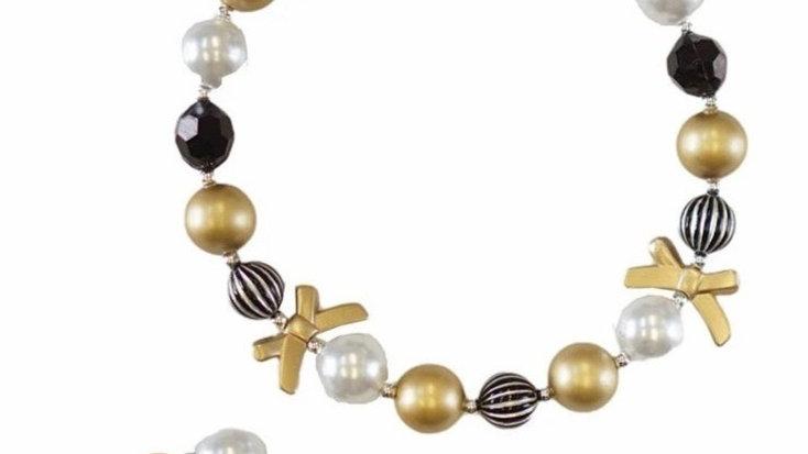 Black gold bow bubble necklace and bracelet set