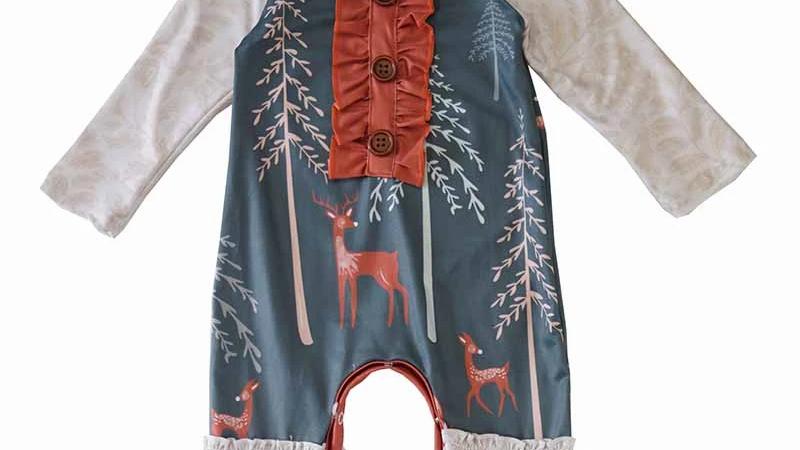 Green deer lace baby romper