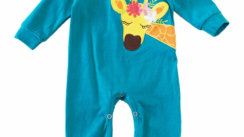 Teal Giraffe Applique Romper