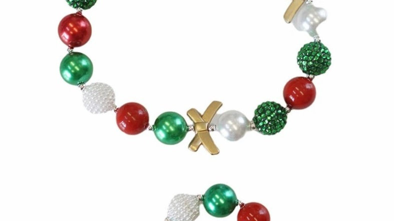 Red green bubble necklace and bracelet set