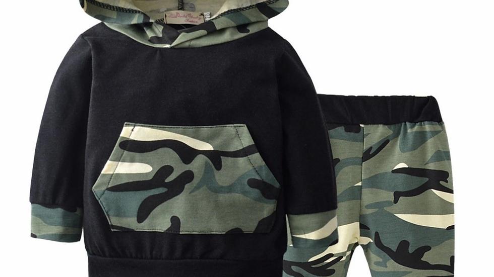 Black Camouflage 2 pcs Hoodie Set