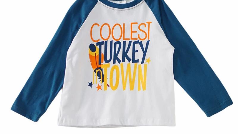 Coolest turkey in town boy shirt