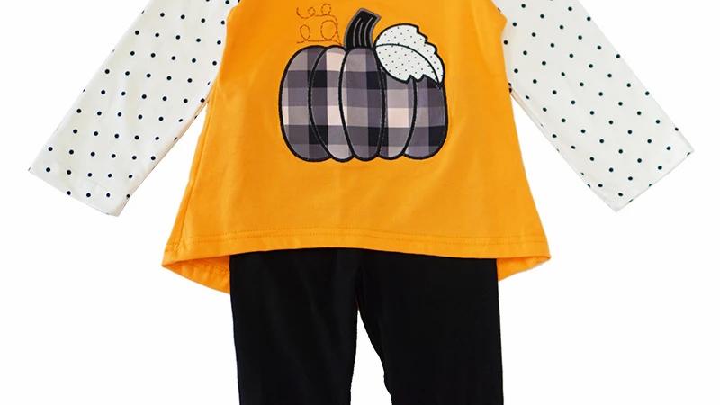 Pumpkin applique ruffle pants set