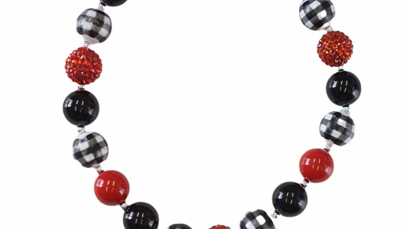 Red black plaid bubble chubby necklace