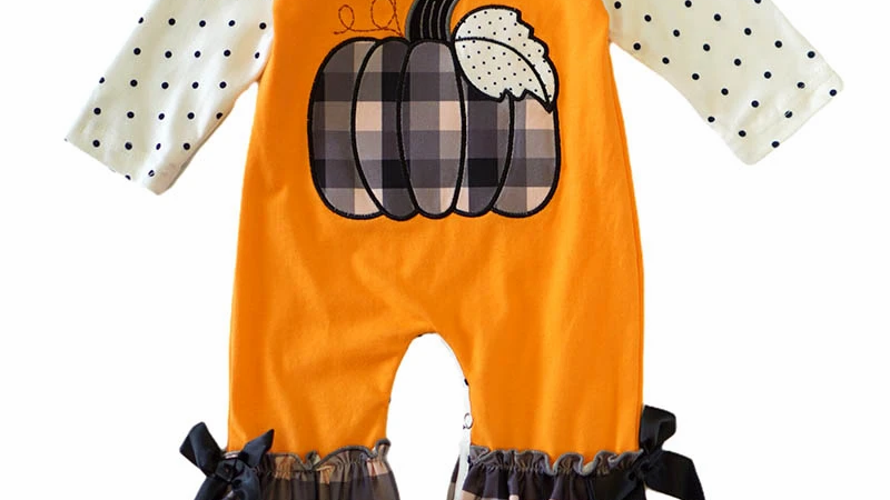 Pumpkin applique orange baby romper
