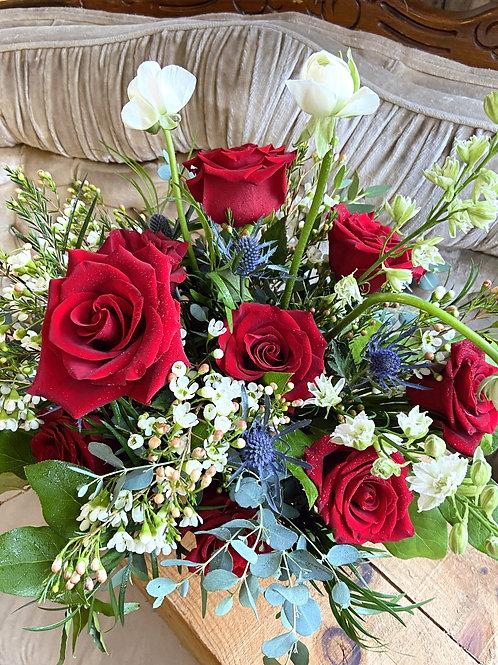 Compote Classic Dozen Roses