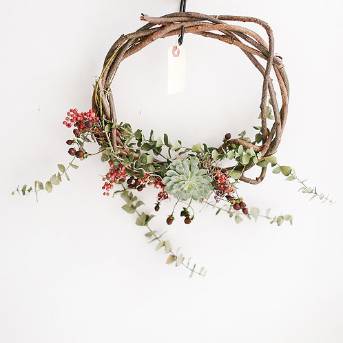 Grapevine Succulent Botanical Wreath