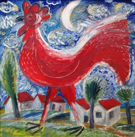 Rooster and moon number 2