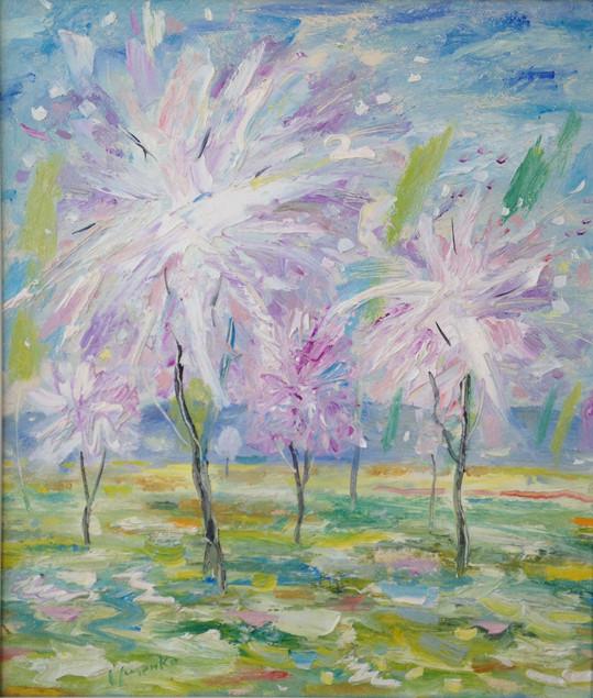 Flowering trees.