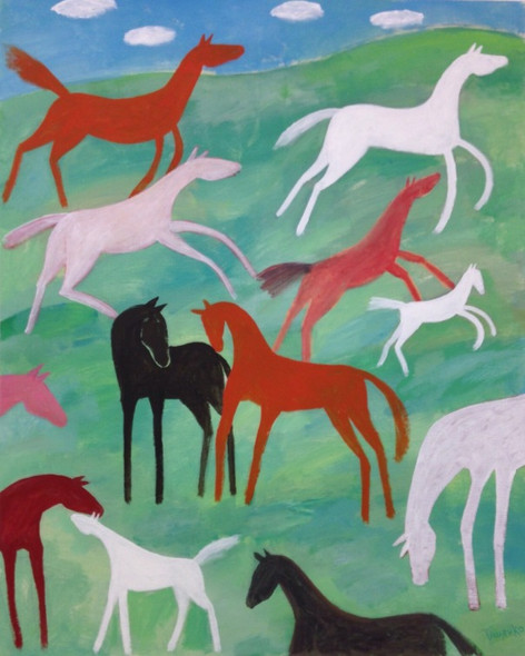 Movement of horses in the meadow