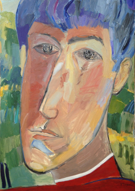 Portrait of son. Selfportrait. Diptych.