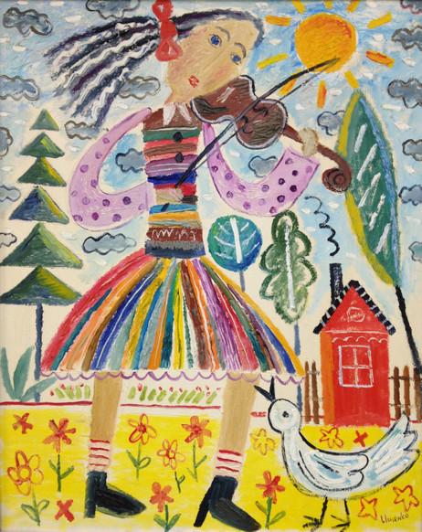 Girl-musician (diptych). Oil on canvas. 85x65. 2010.