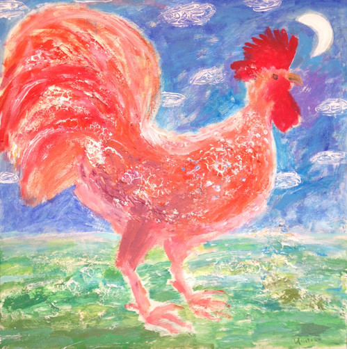 Rooster and moon number 1