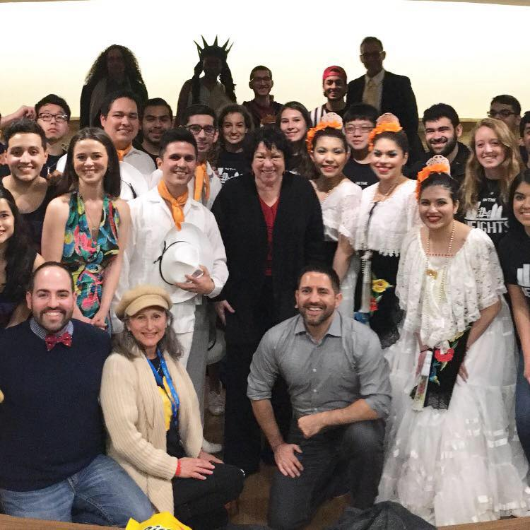 Supreme Court Justice Sonia Sotomayor with the cast from Princeton University 2017