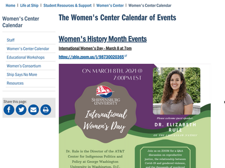 Women's History Month at Shippensburg
