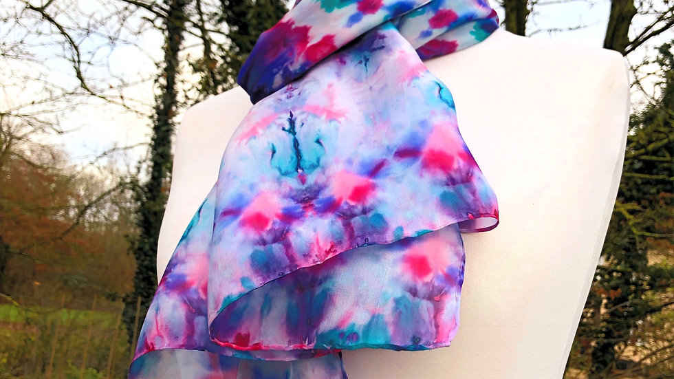 Rose Bud & Petals Hand Painted Pure Silk Scarf ~ One Of A Kind