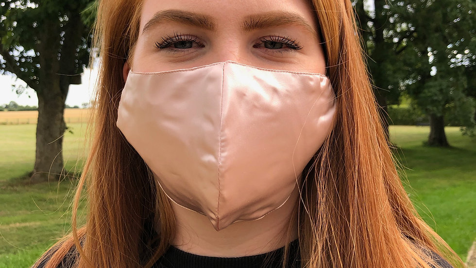 Rose Pink Silk Face Covering - Fitted Shape - Non Medical