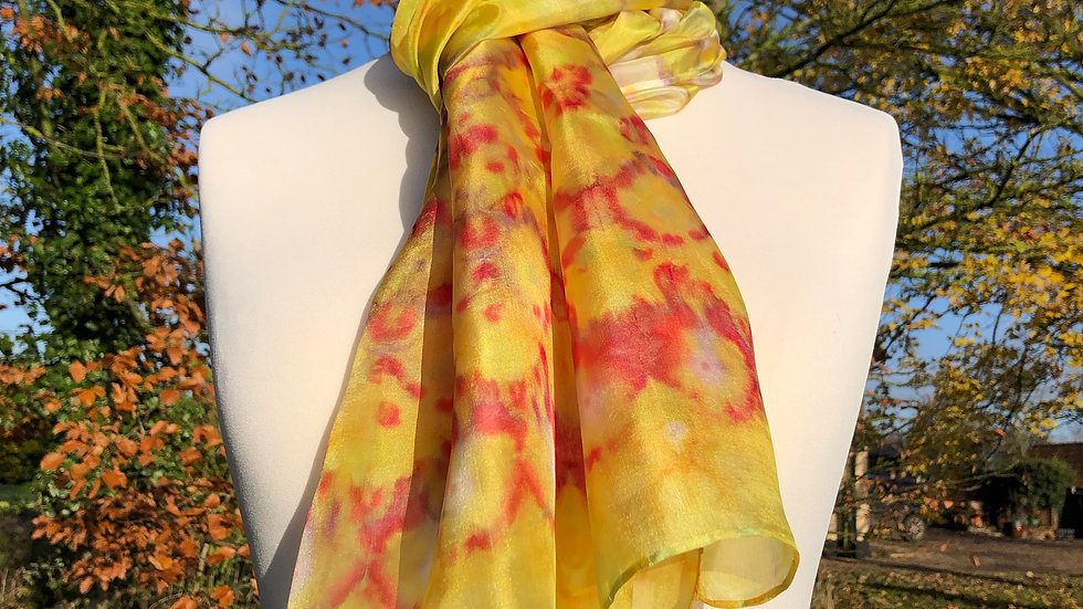 Red & Yellow Tulip Bouquet Hand Painted Pure Silk Scarf ~ One Of A Kind