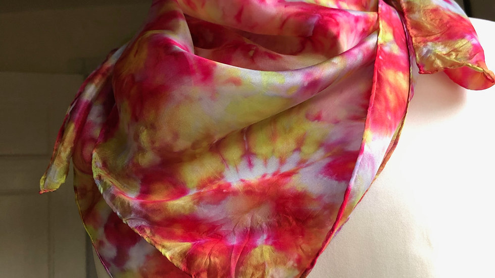 Begonia Bouquet Hand Painted Pure Silk Scarf ~ One Of A Kind