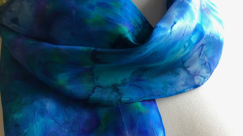 Amazing Agapanthus Hand Painted Pure Silk Scarf ~ One Of A Kind
