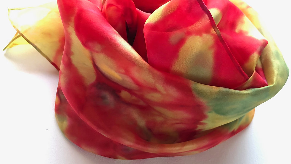 Yellow Tulip Parade Hand Painted Pure Silk Scarf ~ One Of A Kind