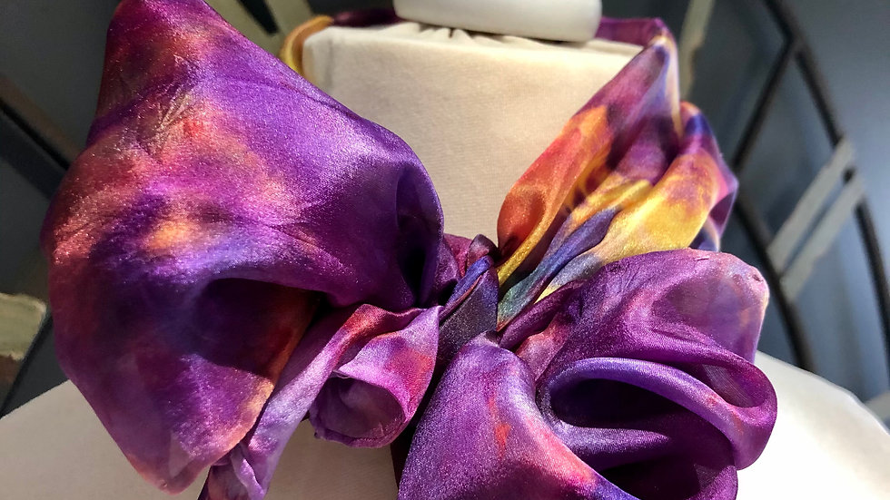 Pansy Profusion Hand Painted Greens Pure Silk Scarf ~ One Of A Kind
