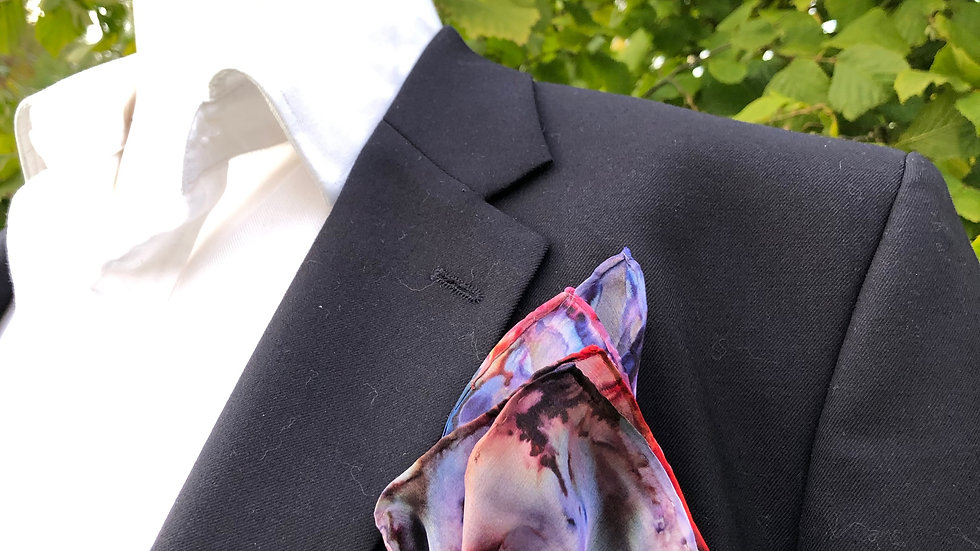 Large Multi Coloured Silk Pocket Square ~ Handkerchief