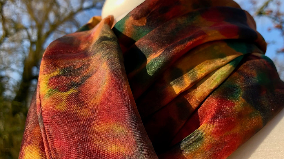 Winter Woodland Hand Painted Greens Pure Silk Scarf ~ One Of A Kind