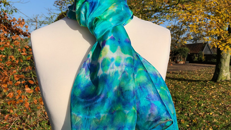 Magnificent Muscari Hand Painted Pure Silk Scarf ~ One Of A Kind